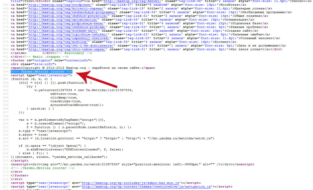 код счетчика на странице wordpress