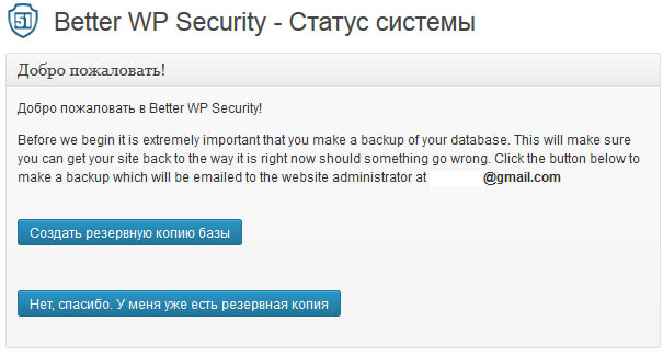 Параметры Better WP Security