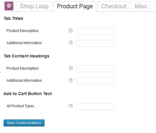woocommerce customizer параметры